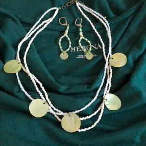 Jewelry - Shell and white bead necklace and earrings